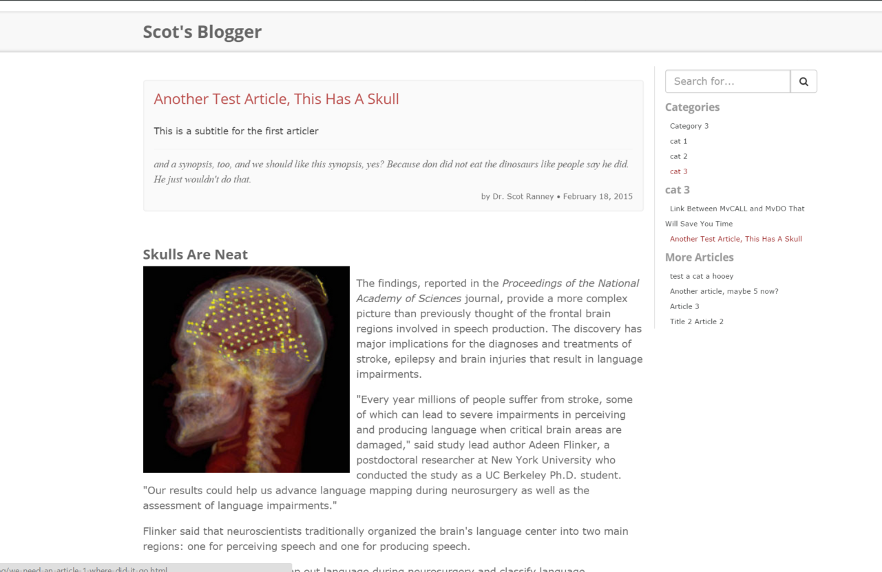 Scot's Blogger, a Miva Merchant Blogging module - top of article